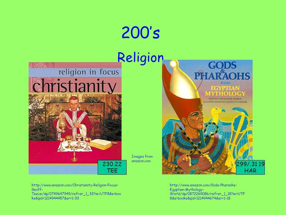 200's Religion http://www.amazon.com/Christianity-Religion-Focus- Geoff- Teece/dp/0749647949/ref=sr_1_33?ie=UTF8&s=boo ks&qid=1214944457&sr=1-33 http://www.amazon.com/Gods-Pharaohs- Egyptian-Mythology- World/dp/0872269086/ref=sr_1_18?ie=UTF 8&s=books&qid=1214944674&sr=1-18 Images from amazon.com 230.22 TEE 299/.31 19 HAR