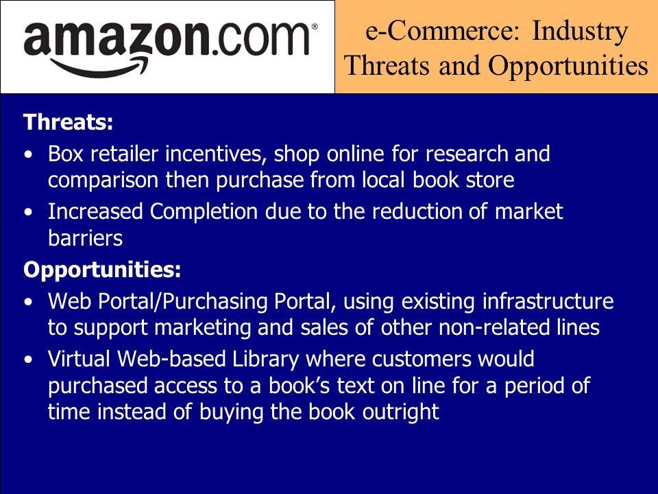 Economic Globalization: Industry Threats and Opportunities Threats: Pricing Pressures Transaction Security Legislative intervention Opportunities: Comparison Shopping Portals Anything, Anytime, Anywhere Localized Partnerships