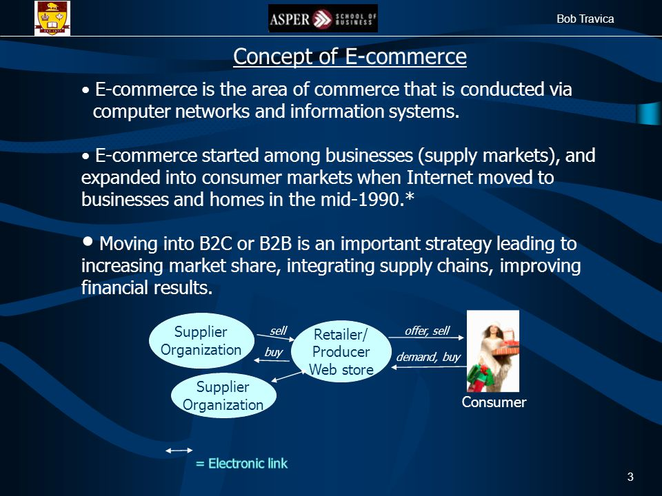 Bob Travica 3 Concept of E-commerce E-commerce is the area of commerce that is conducted via computer networks and information systems.