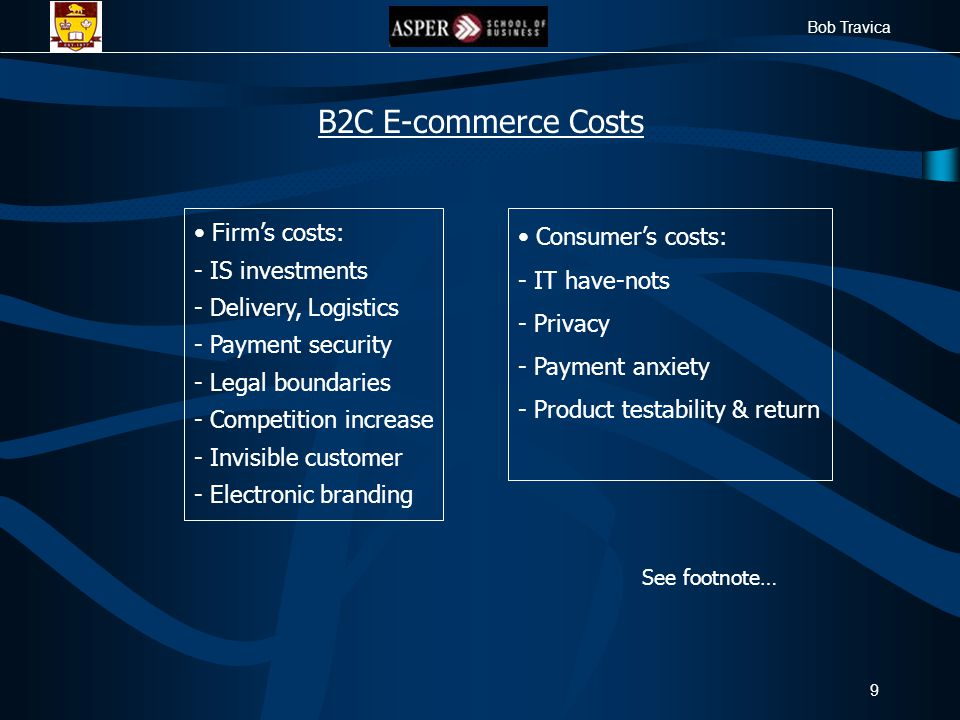 Bob Travica 9 Firm's costs: - IS investments - Delivery, Logistics - Payment security - Legal boundaries - Competition increase - Invisible customer -