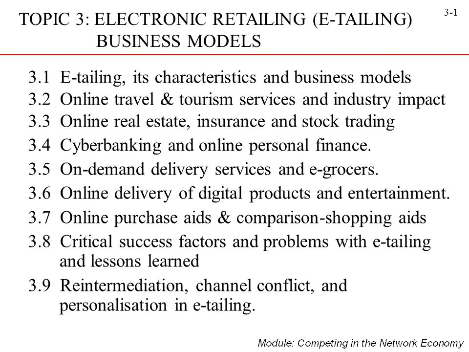 3-1 TOPIC 3: ELECTRONIC RETAILING (E-TAILING) BUSINESS MODELS 3.1 E-tailing, its characteristics and business models 3.2 Online travel & tourism servi