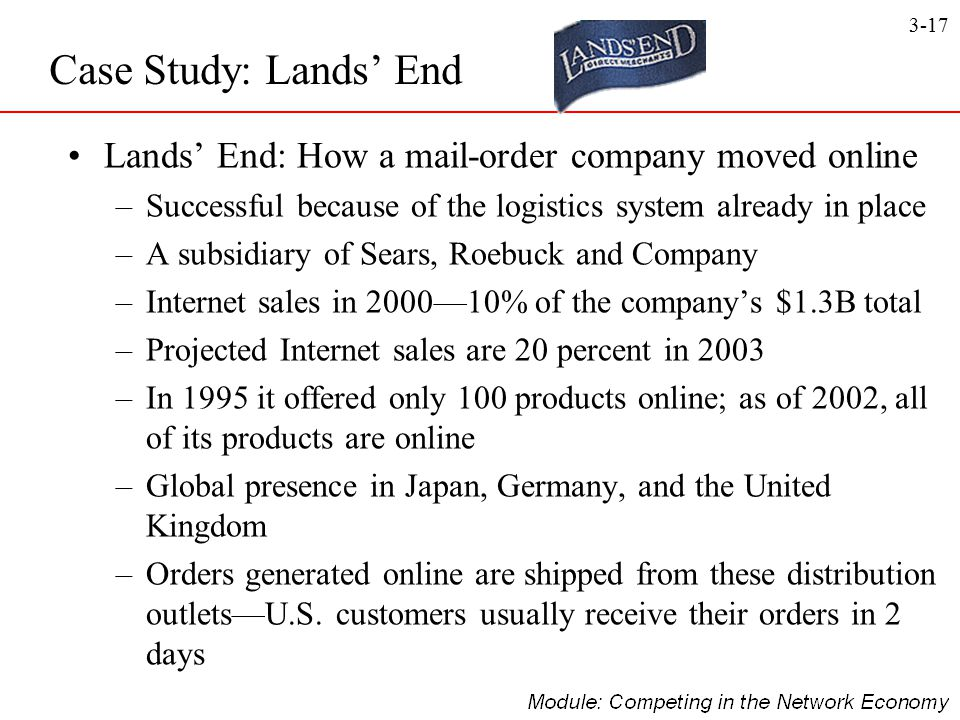 3-17 Lands' End: How a mail-order company moved online –Successful because of the logistics system already in place –A subsidiary of Sears, Roebuck an
