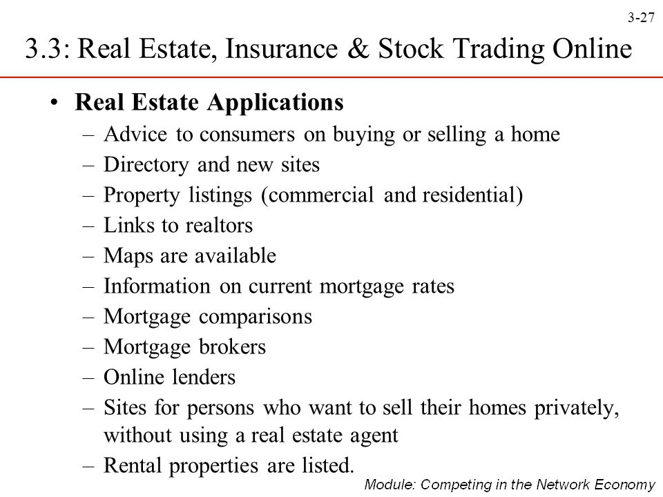 3-27 3.3: Real Estate, Insurance & Stock Trading Online Real Estate Applications –Advice to consumers on buying or selling a home –Directory and new s