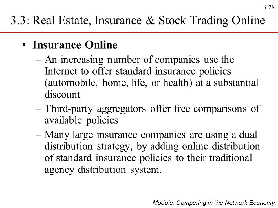 3-28 Insurance Online –An increasing number of companies use the Internet to offer standard insurance policies (automobile, home, life, or health) at
