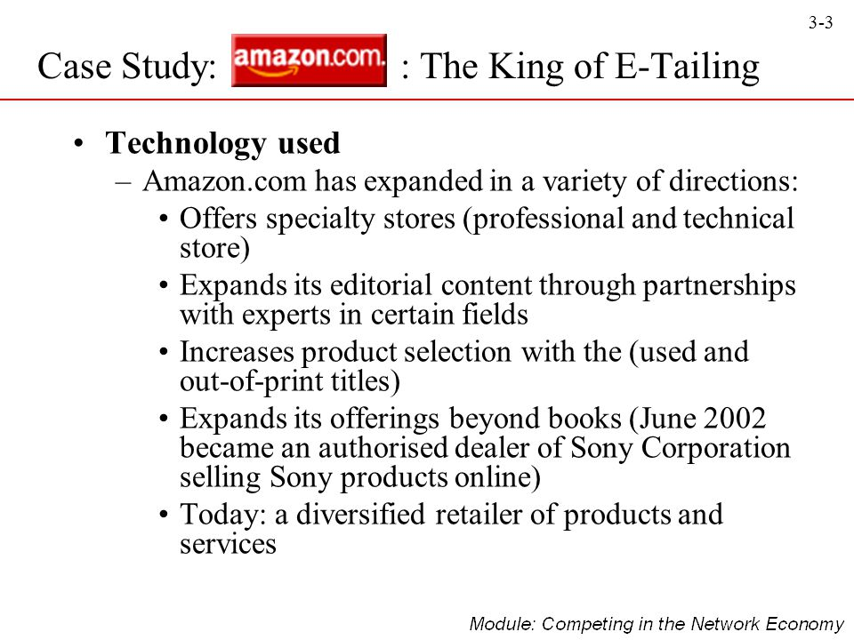 3-3 Technology used –Amazon.com has expanded in a variety of directions: Offers specialty stores (professional and technical store) Expands its editor