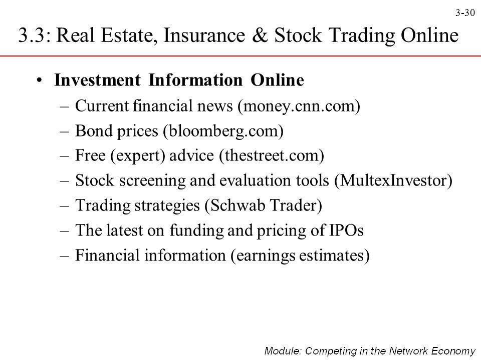 3-30 Investment Information Online –Current financial news (money.cnn.com) –Bond prices (bloomberg.com) –Free (expert) advice (thestreet.com) –Stock s