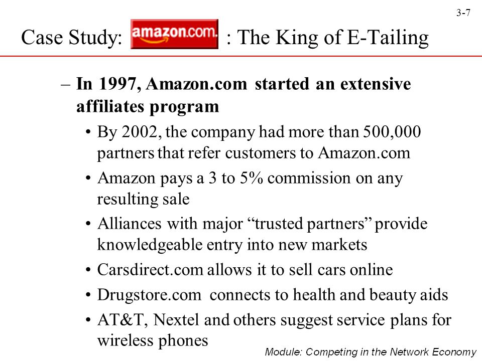 3-7 –In 1997, Amazon.com started an extensive affiliates program By 2002, the company had more than 500,000 partners that refer customers to Amazon.co