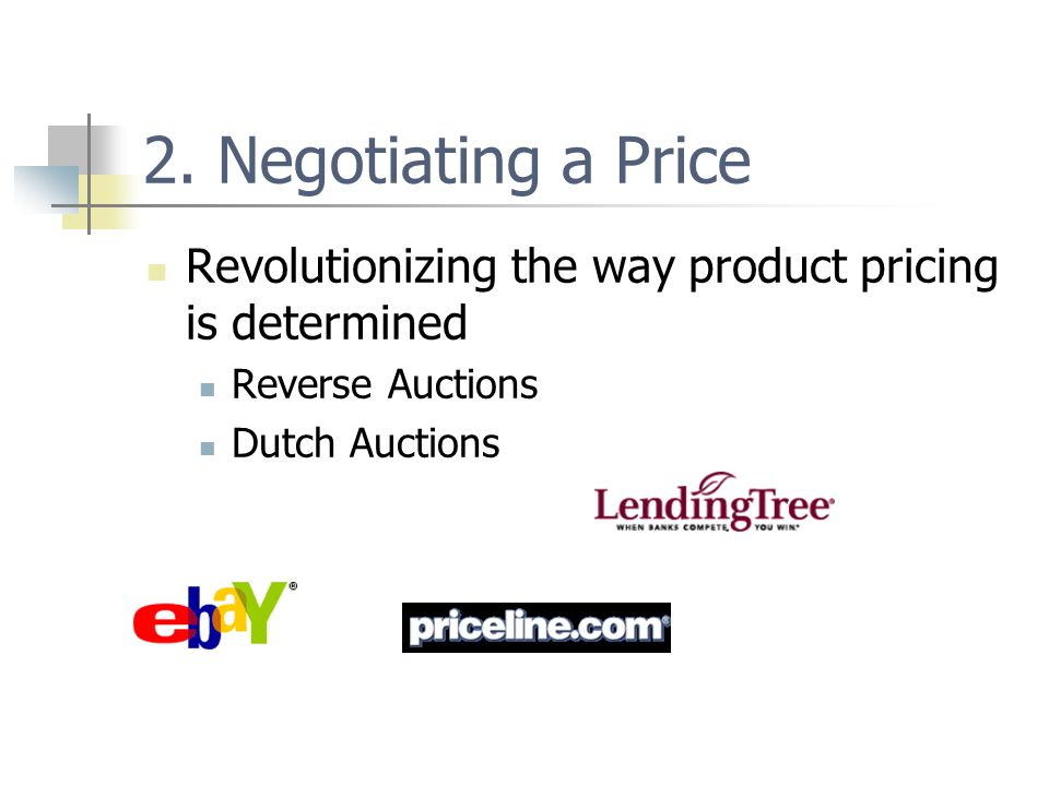 2. Negotiating a Price Revolutionizing the way product pricing is determined Reverse Auctions Dutch Auctions