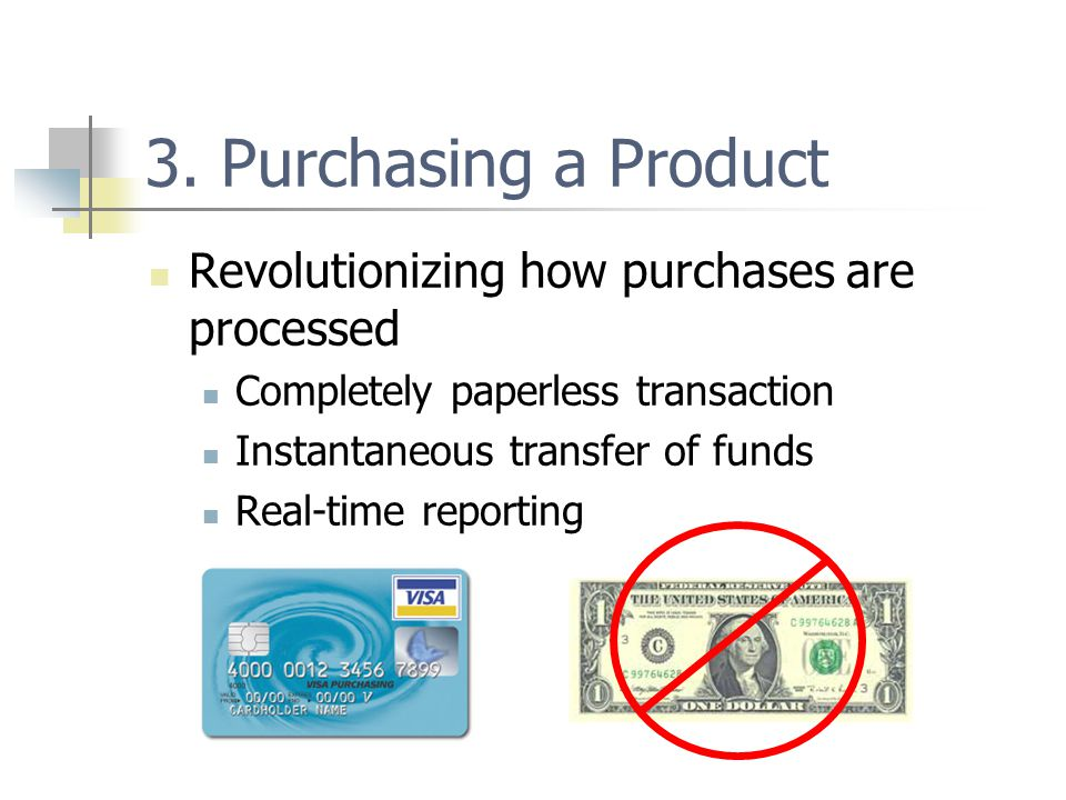 3. Purchasing a Product Revolutionizing how purchases are processed Completely paperless transaction Instantaneous transfer of funds Real-time reporti