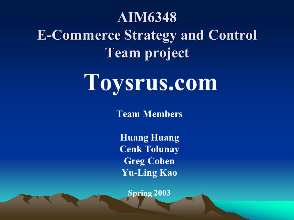 On-line toy Industry On-line toy market increased from $425 million in 2001 to $1.6 billion in 2002 The main companies are Toysrus.com and Etoys.com The industry is fairly new, but the the market is still highly intense Toysrus.com has advantages in this competition