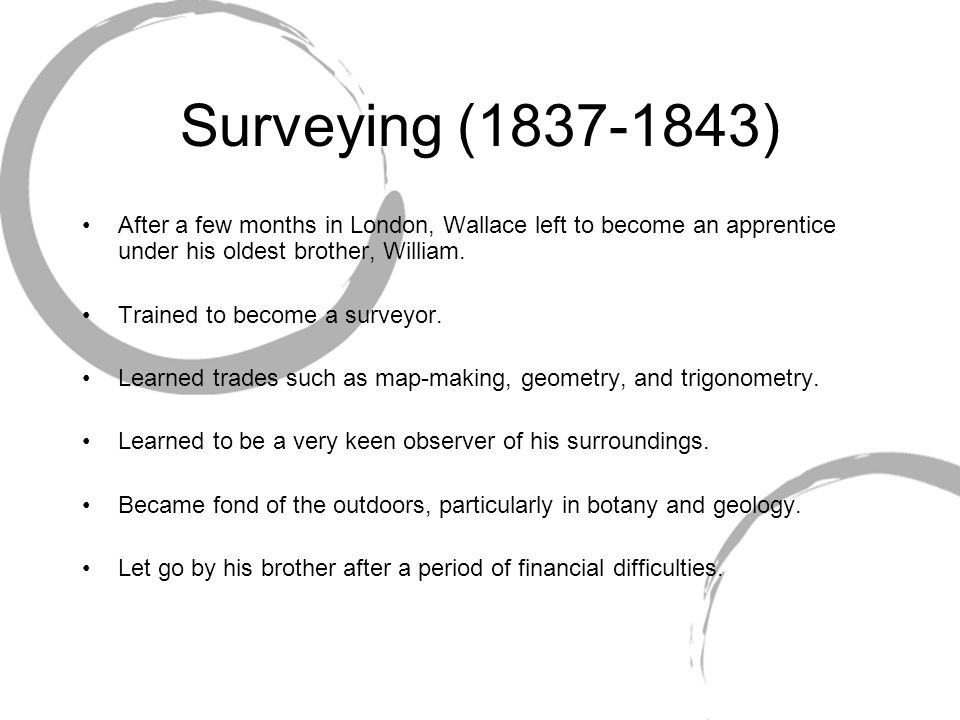 Surveying (1837-1843) After a few months in London, Wallace left to become an apprentice under his oldest brother, William.