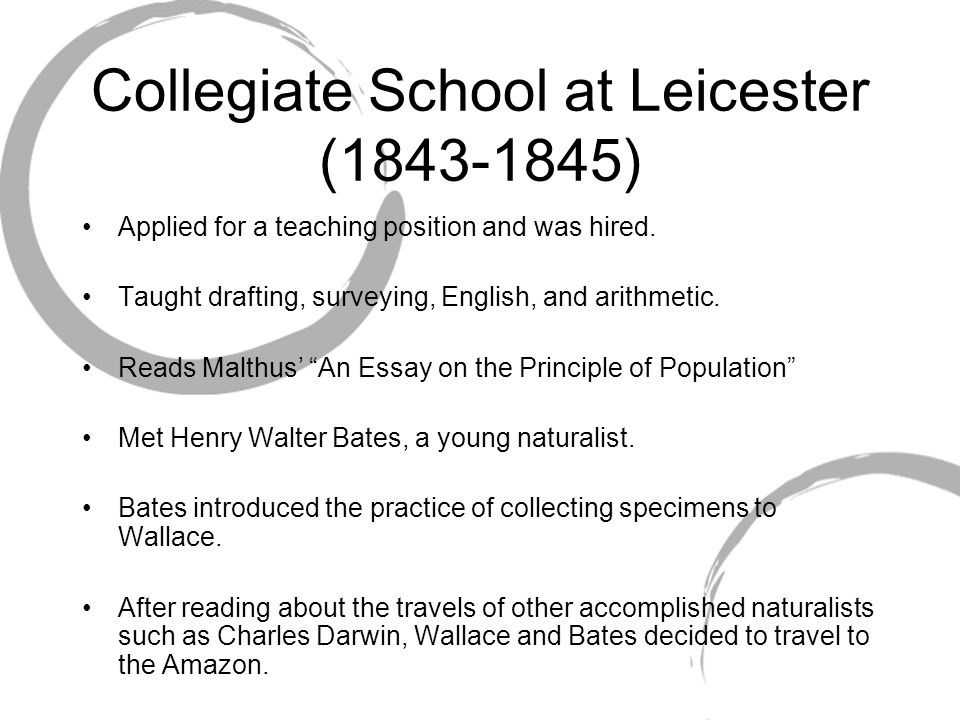 Collegiate School at Leicester (1843-1845) Applied for a teaching position and was hired.