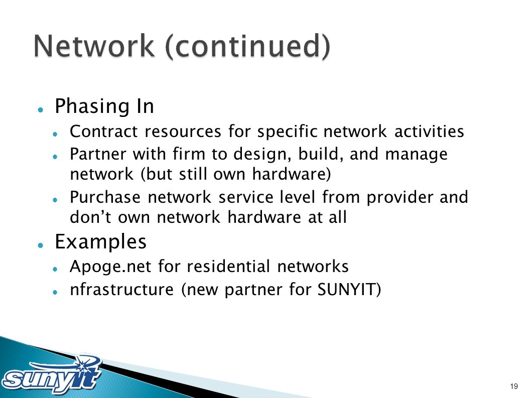 Phasing In Contract resources for specific network activities Partner with firm to design, build, and manage network (but still own hardware) Purchase network service level from provider and don't own network hardware at all Examples Apoge.net for residential networks nfrastructure (new partner for SUNYIT) 19