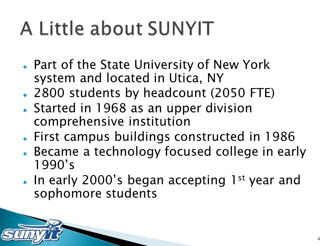 Part of the State University of New York system and located in Utica, NY 2800 students by headcount (2050 FTE) Started in 1968 as an upper division co