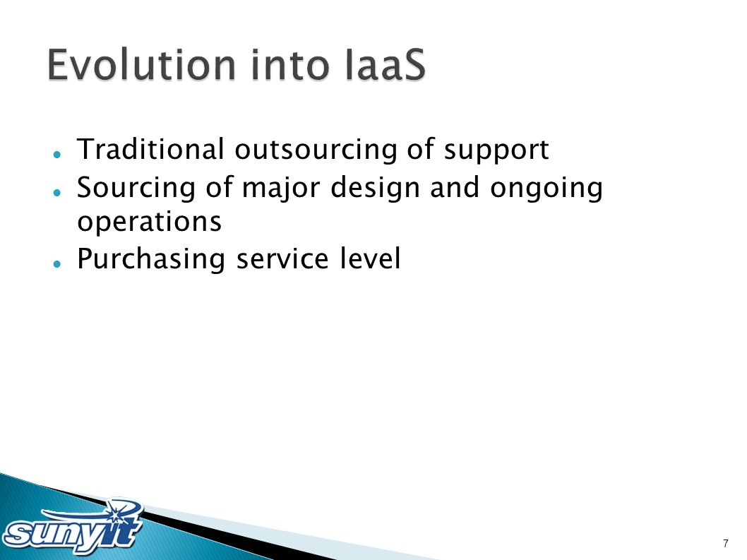 Traditional outsourcing of support Sourcing of major design and ongoing operations Purchasing service level 7
