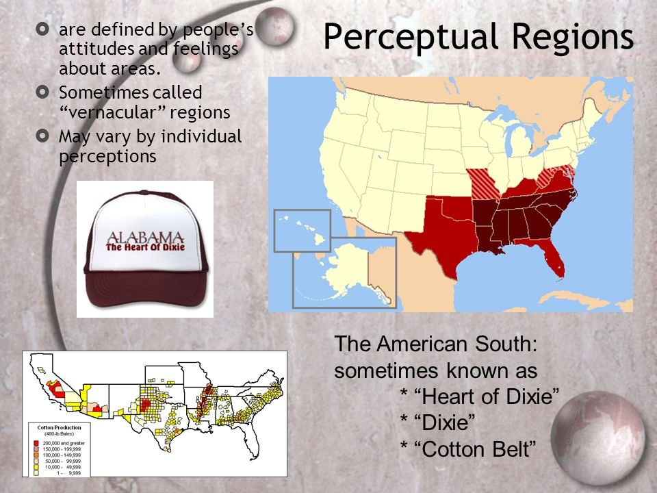 Perceptual Regions  are defined by people's attitudes and feelings about areas.