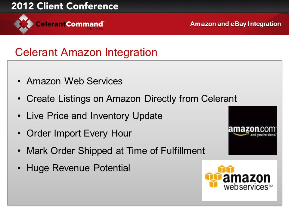 Celerant Amazon Integration Amazon Web Services Create Listings on Amazon Directly from Celerant Live Price and Inventory Update Order Import Every Ho