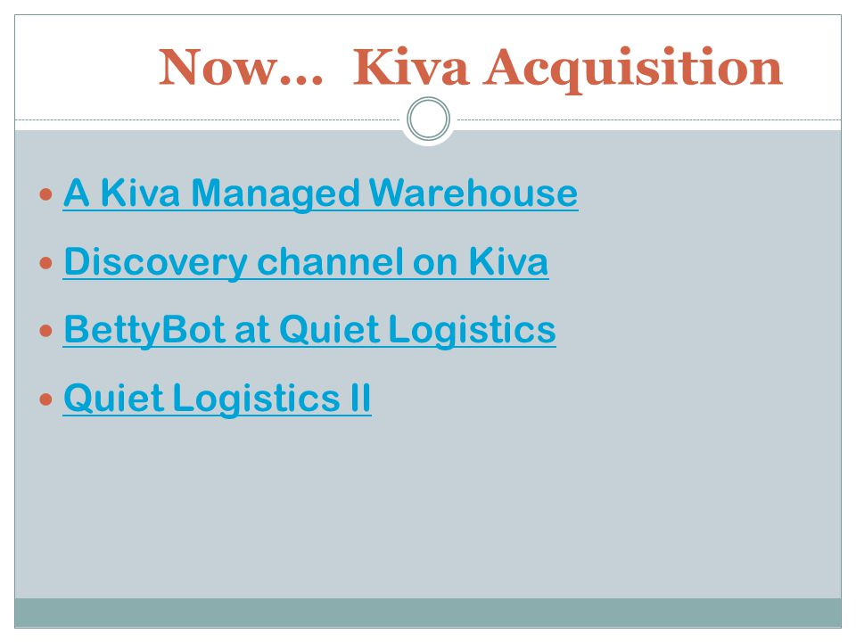 Now… Kiva Acquisition A Kiva Managed Warehouse Discovery channel on Kiva BettyBot at Quiet Logistics Quiet Logistics II