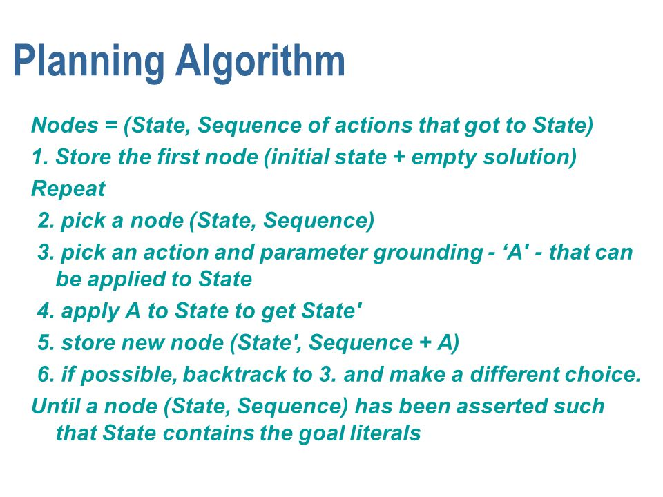Planning Algorithm Nodes = (State, Sequence of actions that got to State) 1. Store the first node (initial state + empty solution) Repeat 2. pick a no