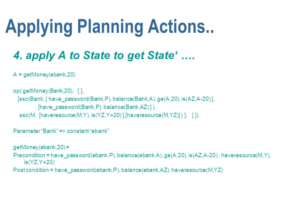 Applying Planning Actions.. 4. apply A to State to get State' …. A = getMoney(ebank,20) op( getMoney(Bank,20), [ ], [ssc(Bank, [ have_password(Bank,P)