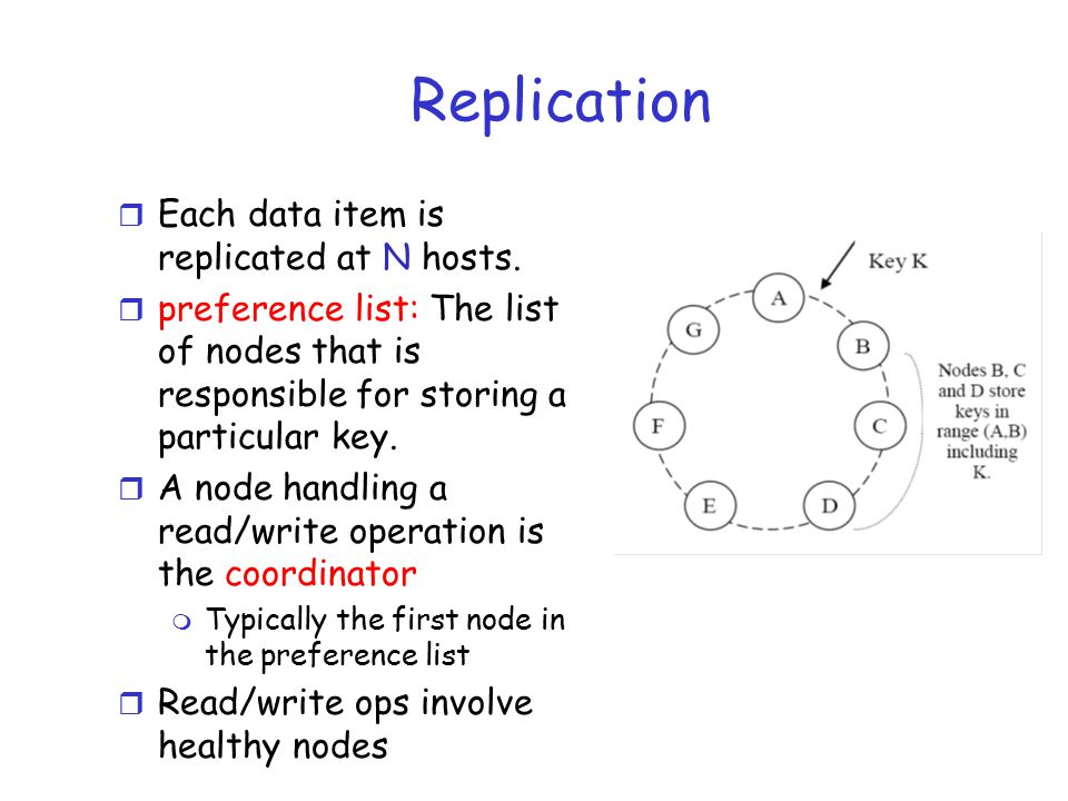 Replication r Each data item is replicated at N hosts.