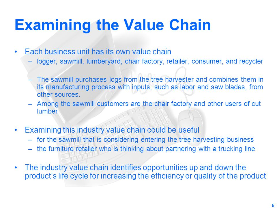 5 Examining the Value Chain Each business unit has its own value chain –logger, sawmill, lumberyard, chair factory, retailer, consumer, and recycler –