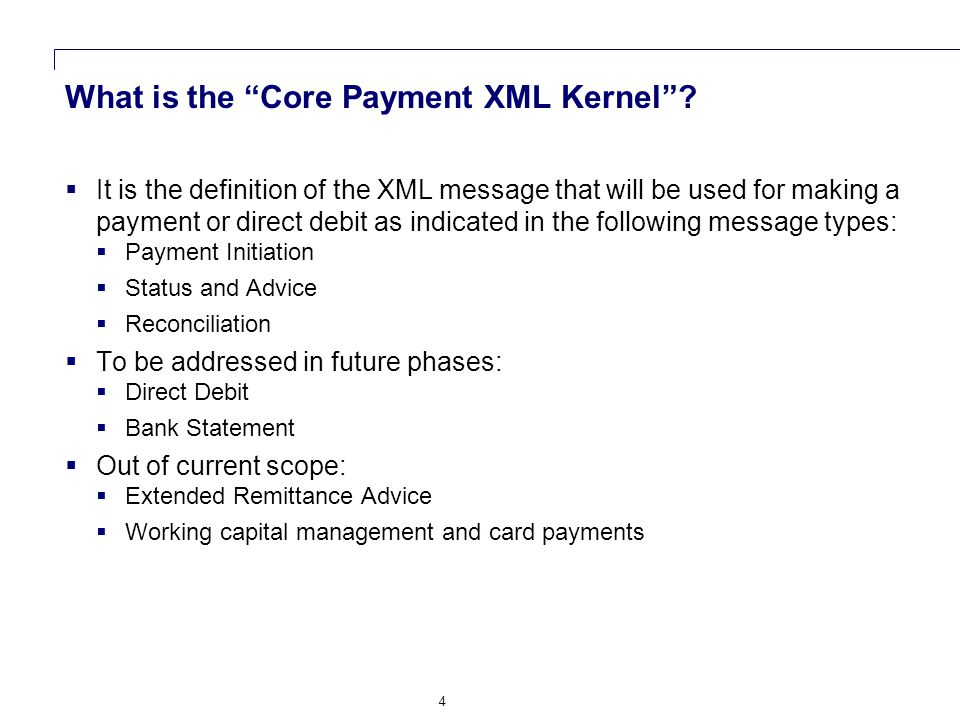 5 Message Usage: Payment Initiation and Advising 1234 Buyer Seller Buyer's Bank Seller's Bank 1.Credit transfer initiation message 2.Status of payment initiation message 3.Request for cancellation of payment initiation message 4.Status of request for cancellation 5.Debit advice 6.Statement 7.Credit Advice Corporate to corporate communications e.g.