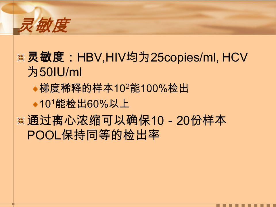 灵敏度 灵敏度: HBV,HIV 均为 25copies/ml, HCV 为 50IU/ml 梯度稀释的样本 10 2 能 100% 检出 10 1 能检出 60% 以上 通过离心浓缩可以确保 10 - 20 份样本 POOL 保持同等的检出率