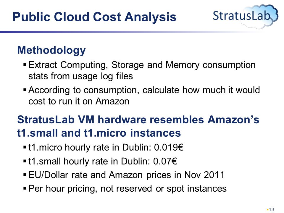 13 Public Cloud Cost Analysis Methodology  Extract Computing, Storage and Memory consumption stats from usage log files  According to consumption, calculate how much it would cost to run it on Amazon StratusLab VM hardware resembles Amazon's t1.small and t1.micro instances  t1.micro hourly rate in Dublin: 0.019€  t1.small hourly rate in Dublin: 0.07€  EU/Dollar rate and Amazon prices in Nov 2011  Per hour pricing, not reserved or spot instances