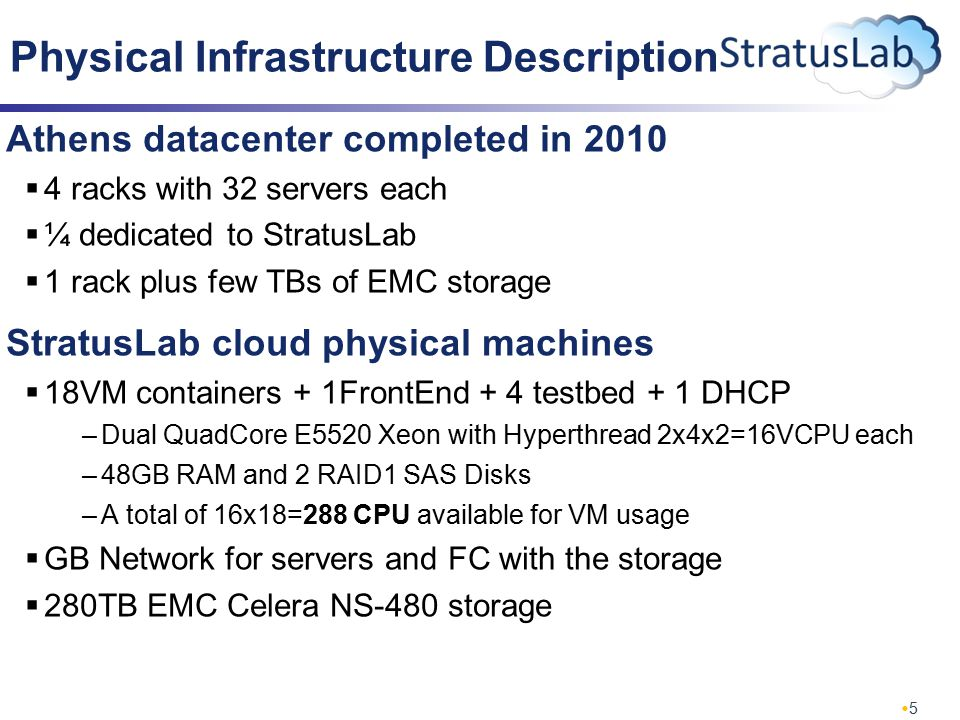 5 Physical Infrastructure Description Athens datacenter completed in 2010  4 racks with 32 servers each  ¼ dedicated to StratusLab  1 rack plus few TBs of EMC storage StratusLab cloud physical machines  18VM containers + 1FrontEnd + 4 testbed + 1 DHCP –Dual QuadCore E5520 Xeon with Hyperthread 2x4x2=16VCPU each –48GB RAM and 2 RAID1 SAS Disks –A total of 16x18=288 CPU available for VM usage  GB Network for servers and FC with the storage  280TB EMC Celera NS-480 storage