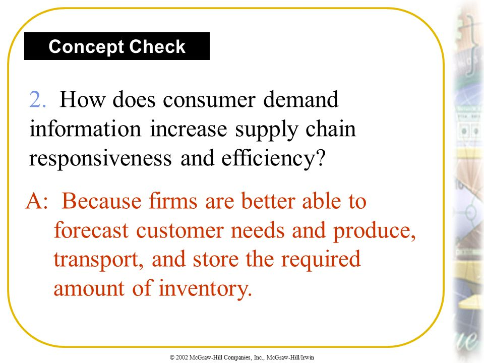 © 2002 McGraw-Hill Companies, Inc., McGraw-Hill/Irwin Concept Check 2. How does consumer demand information increase supply chain responsiveness and e