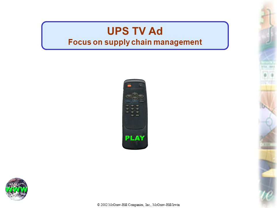 © 2002 McGraw-Hill Companies, Inc., McGraw-Hill/Irwin UPS TV Ad Focus on supply chain management