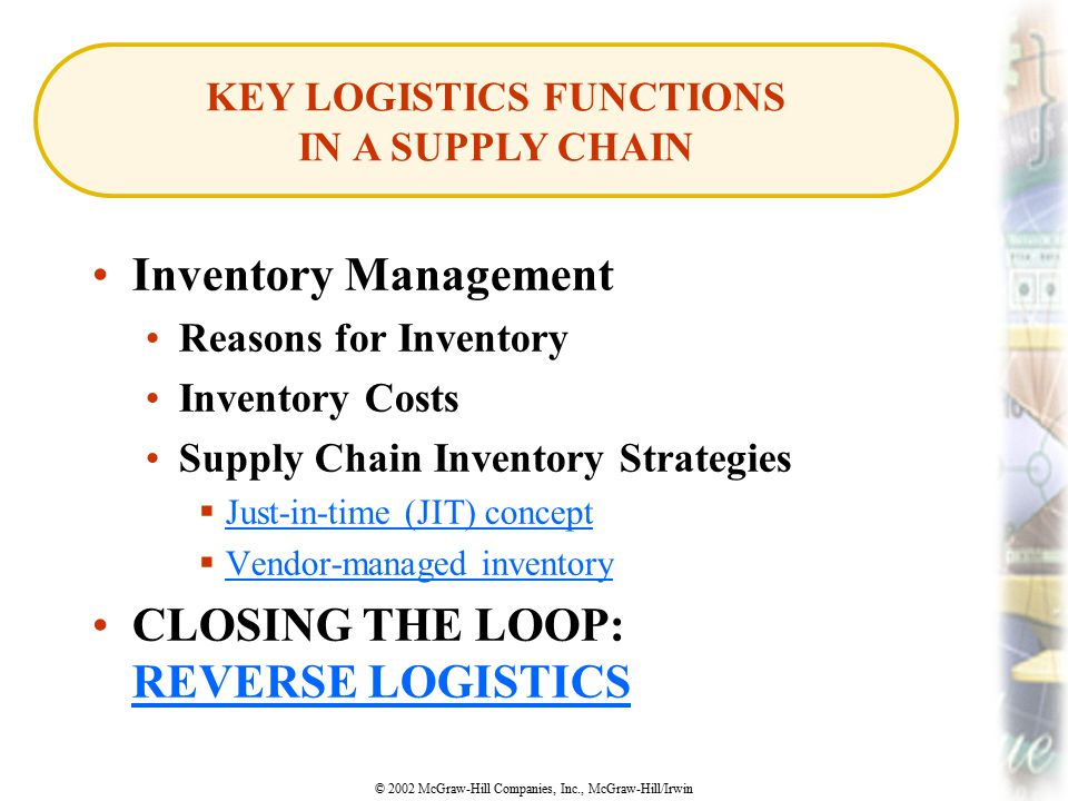 © 2002 McGraw-Hill Companies, Inc., McGraw-Hill/Irwin Inventory Management Reasons for Inventory Inventory Costs Supply Chain Inventory Strategies  J