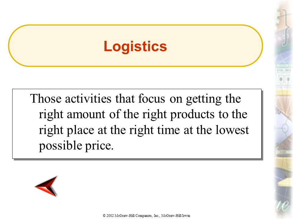 © 2002 McGraw-Hill Companies, Inc., McGraw-Hill/Irwin Those activities that focus on getting the right amount of the right products to the right place