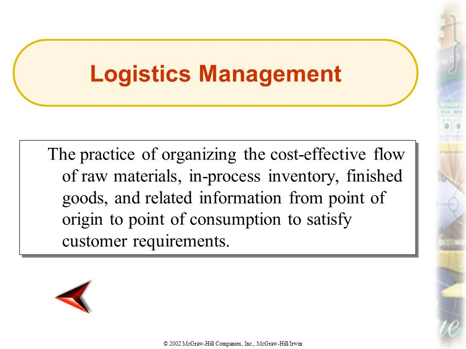 © 2002 McGraw-Hill Companies, Inc., McGraw-Hill/Irwin The practice of organizing the cost-effective flow of raw materials, in-process inventory, finis