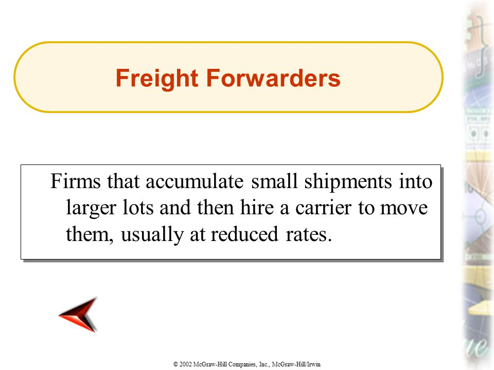© 2002 McGraw-Hill Companies, Inc., McGraw-Hill/Irwin Firms that accumulate small shipments into larger lots and then hire a carrier to move them, usu