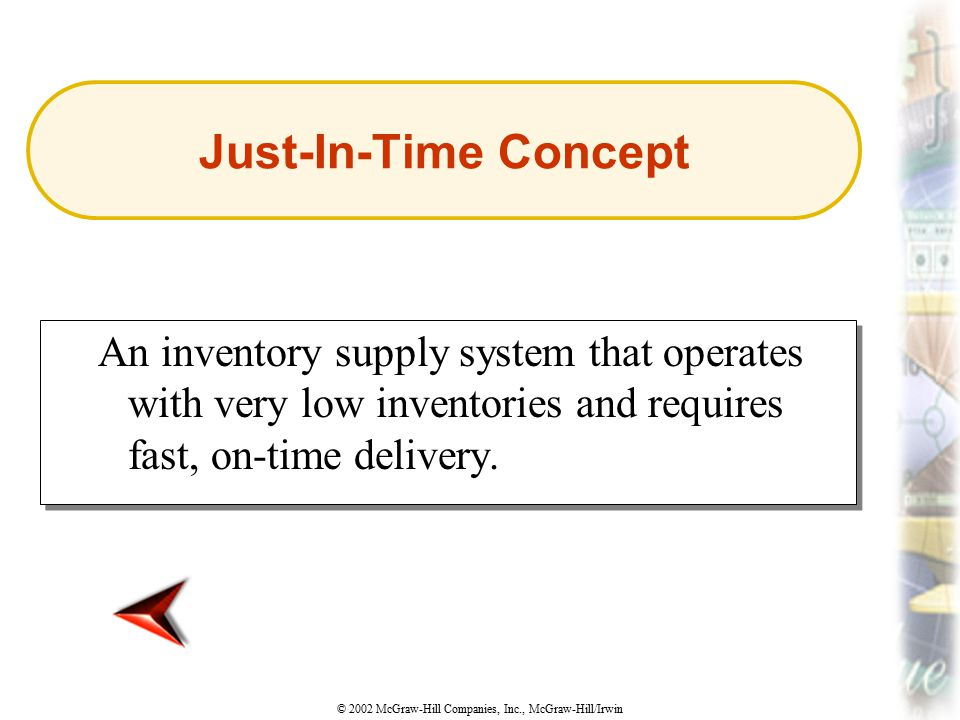 © 2002 McGraw-Hill Companies, Inc., McGraw-Hill/Irwin An inventory supply system that operates with very low inventories and requires fast, on-time de