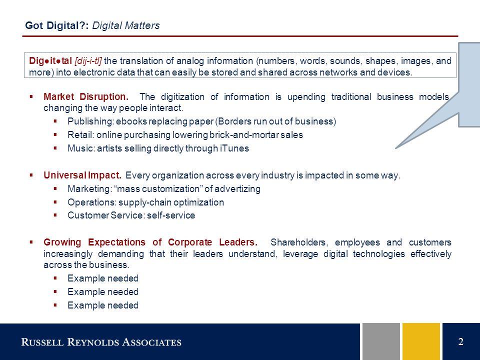 2 Got Digital : Digital Matters  Market Disruption.