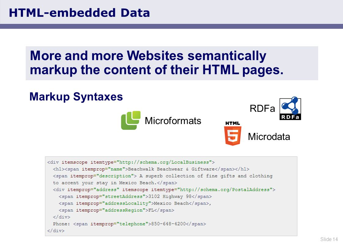Slide 14 HTML-embedded Data More and more Websites semantically markup the content of their HTML pages.
