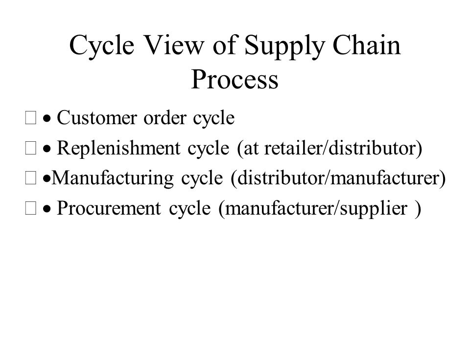 Cycle View of Supply Chain Process  Customer order cycle  Replenishment cycle (at retailer/distributor)  Manufacturing cycle (distributor/manufa