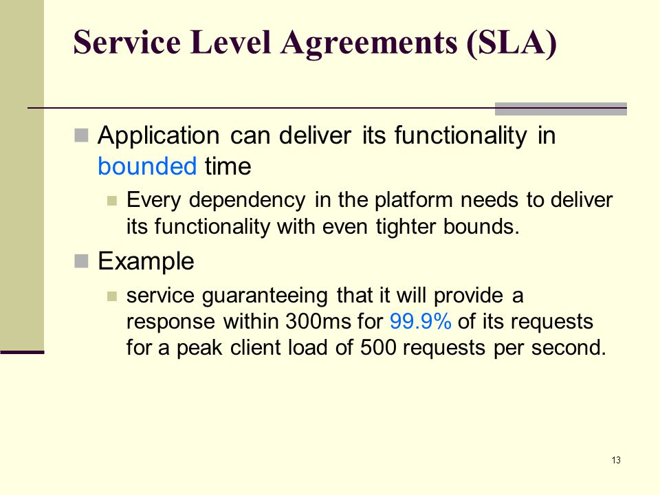 Service Level Agreements (SLA) Application can deliver its functionality in bounded time Every dependency in the platform needs to deliver its functionality with even tighter bounds.