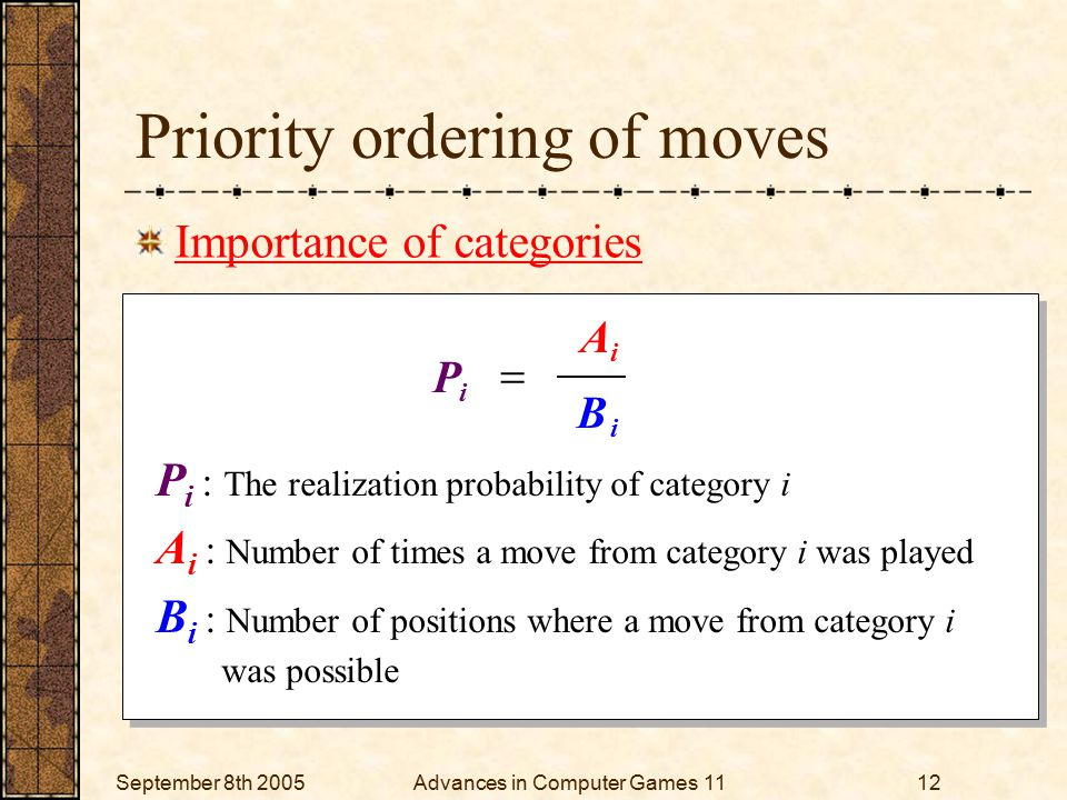 September 8th 2005Advances in Computer Games 1112 P i : The realization probability of category i A i : Number of times a move from category i was played B i : Number of positions where a move from category i was possible P i : The realization probability of category i A i : Number of times a move from category i was played B i : Number of positions where a move from category i was possible Priority ordering of moves Importance of categories i i i B A P 