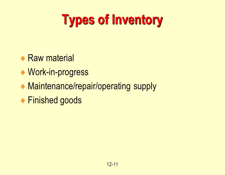 12-11 Types of Inventory  Raw material  Work-in-progress  Maintenance/repair/operating supply  Finished goods