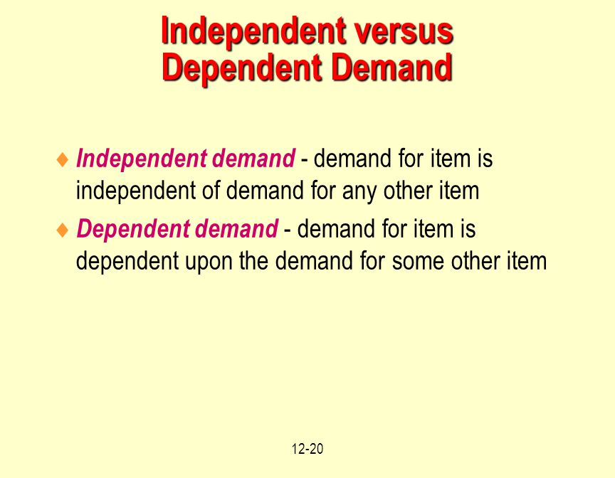 12-20 Independent versus Dependent Demand  Independent demand - demand for item is independent of demand for any other item  Dependent demand - dema