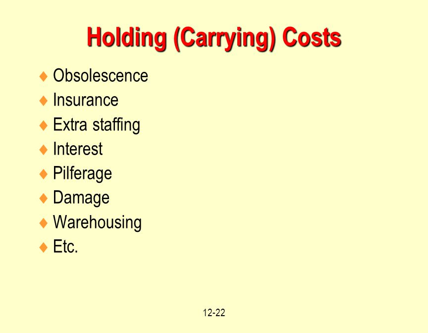 12-22 Holding (Carrying) Costs  Obsolescence  Insurance  Extra staffing  Interest  Pilferage  Damage  Warehousing  Etc.