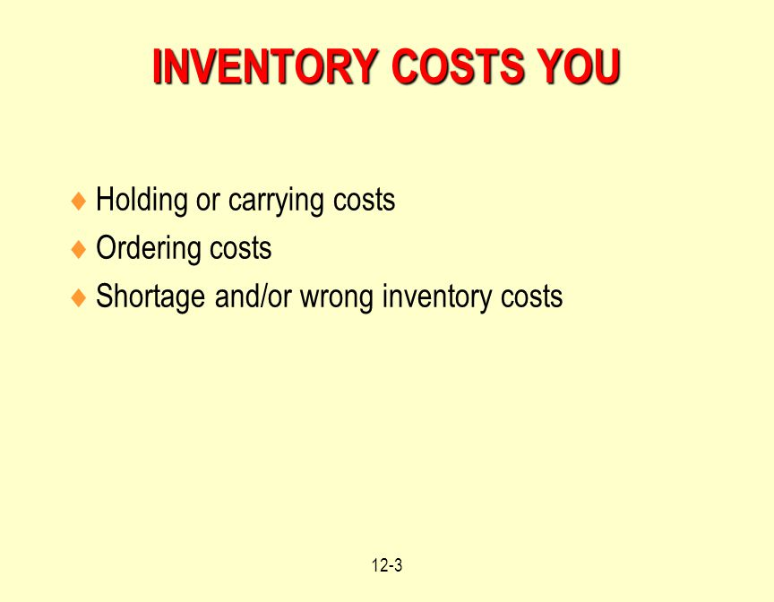 12-3 INVENTORY COSTS YOU  Holding or carrying costs  Ordering costs  Shortage and/or wrong inventory costs