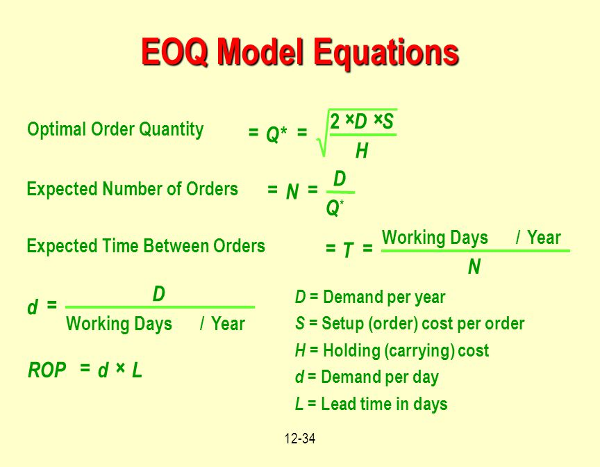 12-34 Optimal Order Quantity Expected Number of Orders Expected Time Between Orders Working Days/Year Working Days/Year == ×× == == = =× Q* DS H N D Q