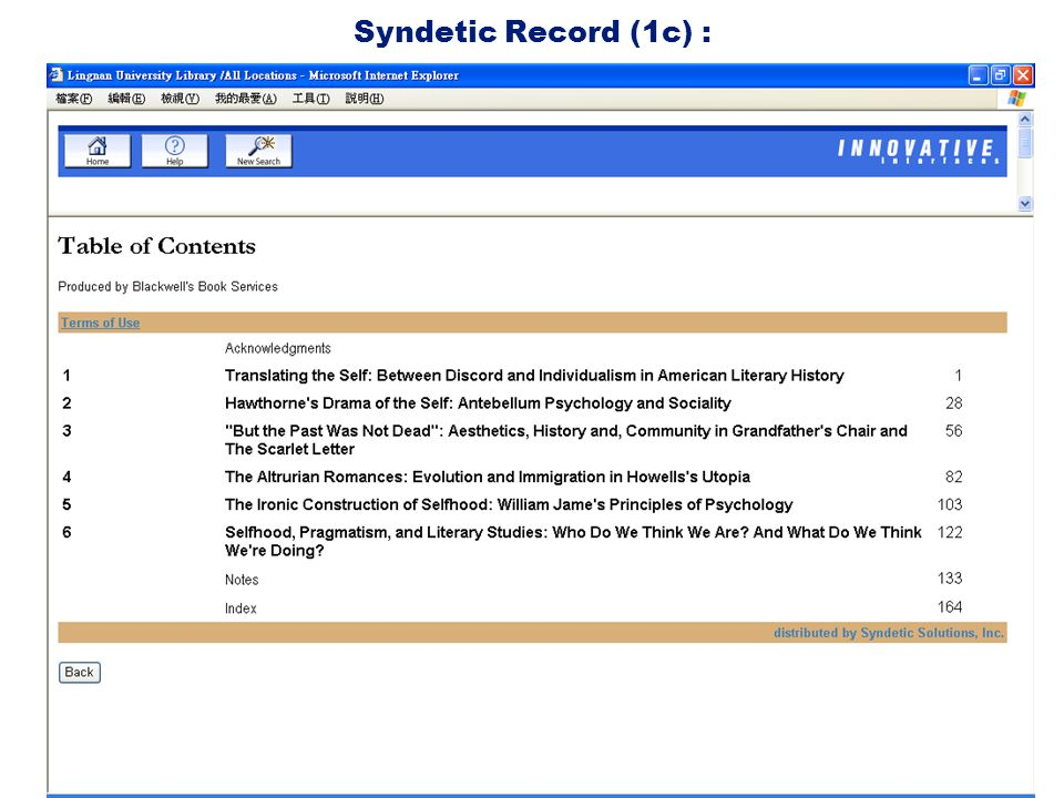Syndetic Record (1c) :