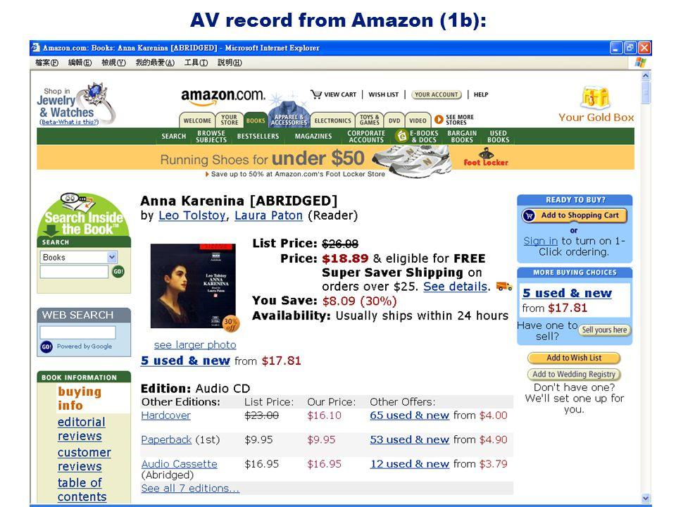 AV record from Amazon (1b):