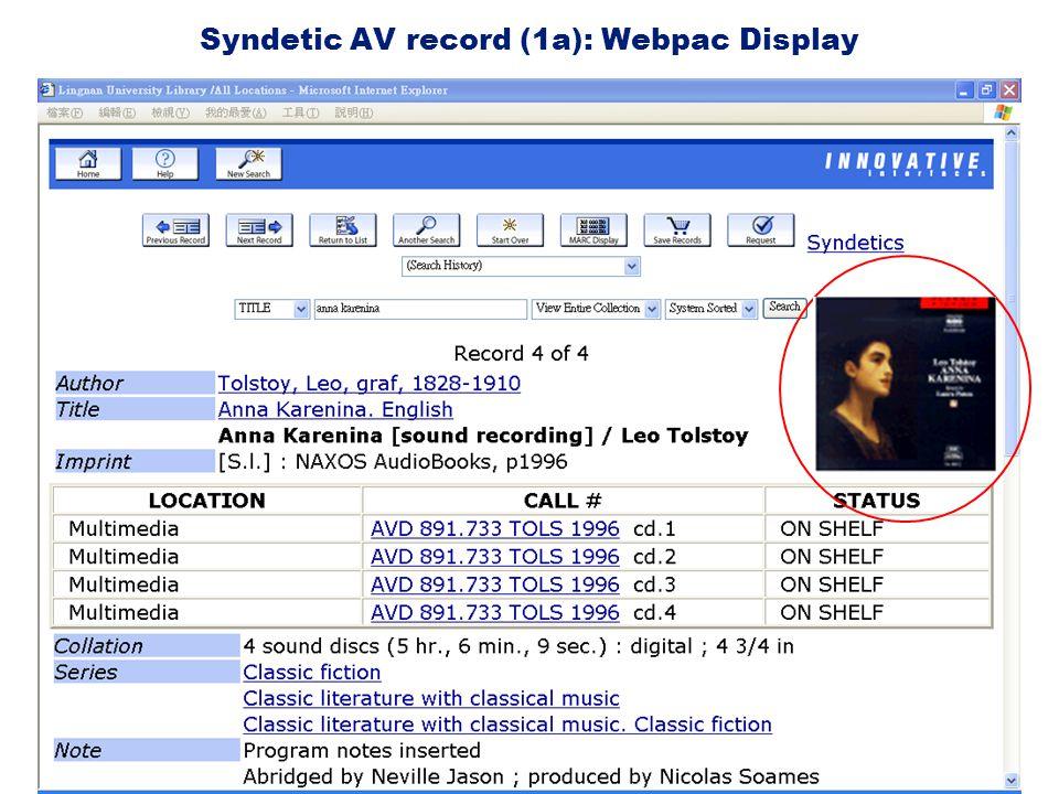 Syndetic AV record (1a): Webpac Display
